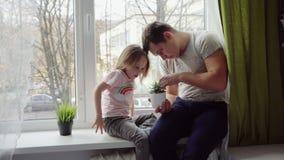 Vater und kleine Tochter betrachten den Houseplant stock video