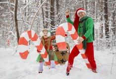 Vater und kleine Tochter gehen in Kostüme von den Blumen, die für Elfen Sankt-` s Helfer im Winterwald darunter traditionell sind stockbild