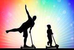 Vater und Sohn auf Roller Stockbild