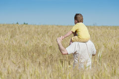 Vater und Sohn, die auf dem Gebiet gehen Stockfotos