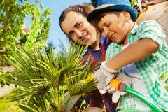 Vater und Sohn, die im Garten zusammenarbeiten lizenzfreie stockbilder