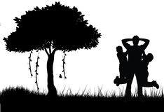 Vater und Sohn, die Schattenbild spielen lizenzfreie abbildung