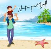 Vater und Sohn im Strand lizenzfreie abbildung