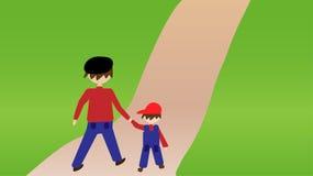 Vater und Sohn machen einen Spaziergang durch den Park stock abbildung
