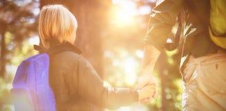 Vater- und Sohnhändchenhalten beim Wandern im Wald Stockfoto