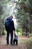 Vater- und Sohnweg im Koniferenwald unter den Kiefern Das Konzept von Familienwerten, Wanderung stockbild