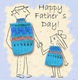 Vater und Tochter auf einem Weg, glücklich und miteinander lächelnd Der glückliche Vatertag, die Illustration mit Vati und die To Stockbild