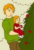 Vater und Tochter verzieren einen Weihnachtsbaum Vektor Abbildung