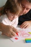 Vater-und Tochter Zeichnung Stockfotografie
