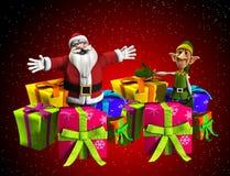 Vater-Weihnachten mit Elf und Geschenken Lizenzfreie Stockbilder