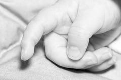 Vatermutter und Babyhändchenhaltenfamilie Stockfotografie