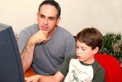 Vatersohncomputer Lizenzfreies Stockfoto