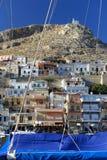 Vathi fjord på den Kalymnos ön Arkivfoto