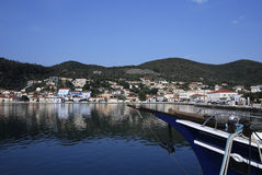 Vathi Harbor at Ithaki Island Stock Photo