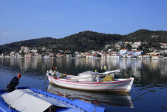 Vathi Harbor at Ithaki Island Stock Images