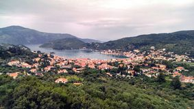 Vathi village in Ithaca stock photography