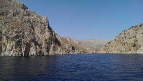 Vathis fjord på den Kalimnos ön Arkivfoto