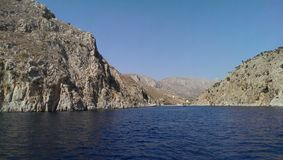 Vathisfjord op Kalimnos-eiland stock foto