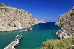 Vathy fjord on Kalymnos Island royalty free stock image