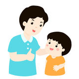 Vati bewundern seine Sohncharakterkarikatur Lizenzfreie Stockfotos