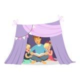 Vati, der ein Buch zu ihren Kindern beim Sitzen in einem Tipizelt, Kinder haben Spaß in einer Hüttenvektor Illustration liest Vektor Abbildung