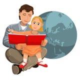 Vati liest das Bibelkind, das auf Händen sitzt Stockbild