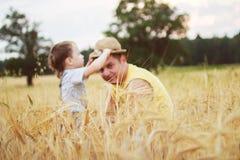 Vati mit dem Sohn, der auf einem Gebiet geht Stockfoto