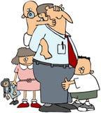 Vati mit seinen Kindern Stockfotografie