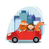 Vati mit seiner Tochter, eine Reise mit dem Auto, ein Hund, eine glückliche Familie, Stockfoto