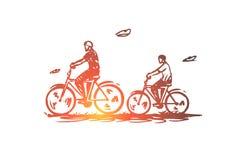 Vati, Sohn, Fahrrad, aktiv, zusammen Konzept Hand gezeichneter lokalisierter Vektor stock abbildung