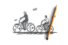 Vati, Sohn, Fahrrad, aktiv, zusammen Konzept Hand gezeichneter lokalisierter Vektor vektor abbildung