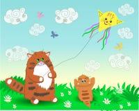 Vati- und Babykatzen lizenzfreie abbildung