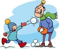 Vati und Sohn auf Winterkarikatur Stockbild