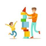 Vati und Sohn, die zusammen einen Turm mit Blöcken, glückliche Familie hat gute Zeit-Illustration errichtet Lizenzfreie Stockfotografie