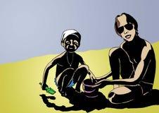 Vati und Tochter des Meeres Lizenzfreies Stockbild