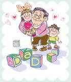 Vati und Tochter und Sohn Lizenzfreie Stockbilder