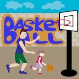 Vati- und Tochterspielbasketball Stockfotografie