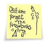 Vati. Vergessen Sie nicht die Feuerwerke. Stockbilder