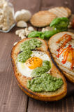 Vatiations of fried eggs inside bread Royalty Free Stock Photos