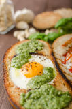 Vatiations of fried eggs inside bread Royalty Free Stock Images