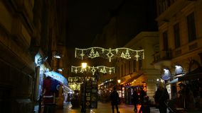 Vatica Utca Budapest. Christmas decorated main center street in Budapest called Vatica utca filmed on cold winter evening in 4K stock footage