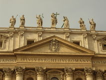 Vatican. Saint statues on the roof of saint peters basilica in Vatican Stock Photos