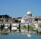 Vatican. View of the Vatican with Saint Peter's Basilica and Sant'Angelo's Bridge (Rome, Italy Stock Photo
