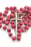 Vatican beads with cross macro Royalty Free Stock Image