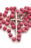 Vatican beads with cross macro Royalty Free Stock Image