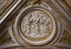 Vatican Ceiling Sculpture Christ Talking Disciples. Vatican Inside Ornate Ceiling with Scullpture of Christ with Disciples Royalty Free Stock Photos