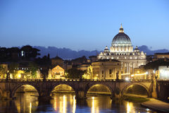 Vatican church at Night. St Peter's Basilica,  Italy, at sunset Stock Photography