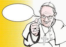 Pope Francis. Vatican. Circa year 2018. Flat vector of Pope Francis on white background in comics style vector illustration