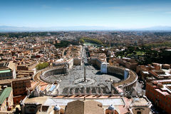 Vatican City. St. Peters Square, the basilica and obelisk from the dome of St Peters royalty free stock photos