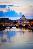 Vatican City and across the River Tiber at dusk, Rome, Italy. View of Vatican City and St Peters Basilica across the River Tiber at dusk, Rome, Italy royalty free stock images